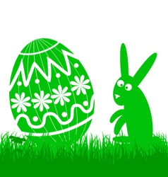 Easter egg and rabbit vector image