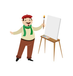 Flat man artist painter drawing on easel vector