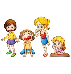 Girls crying vector image vector image