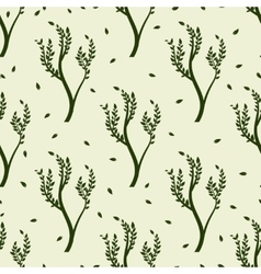 Green tree and leaves seamles pattern vector image vector image