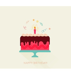 Happy birthday card with a cake vector