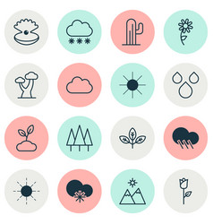 Harmony icons set collection of plant sunshine vector
