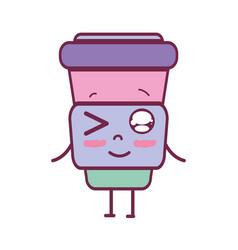 kawaii cute funny soda food vector image