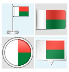 Madagascar flag - sticker button label vector image vector image