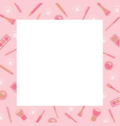 makeup cosmetics tools icons pattern border vector image vector image