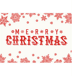 Merry christmas vintage postcard snowflake border vector