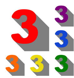 Number 3 sign design template element set of red vector