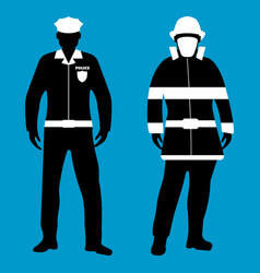 Policeman and fireman flat icon service 911 vector