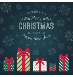 Present boxes and greeting text vector