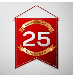 Red pennant with inscription twenty five years vector
