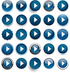 Round dark blue arrow icons vector image vector image