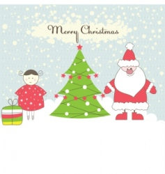 santa and girl vector illustration vector image vector image