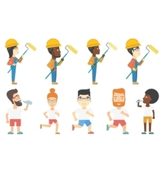 Set of builders and sportsmen characters vector