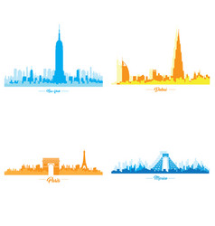 set of skylines vector image