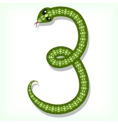 Snake font Digit 3 vector image