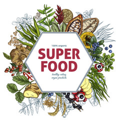 superfood hexagon banner full color realistic vector image