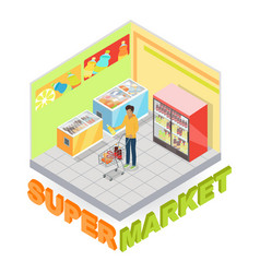 Supermarket department interior isometric vector