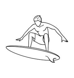 Surfer in action icon in outline style isolated on vector