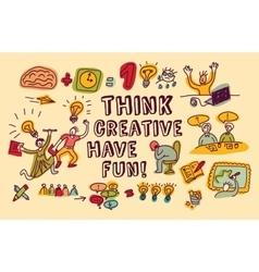 Think creative fun doodles people color vector