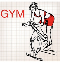 young women on stationary bikes exercising in th vector image