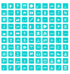 100 adventure icons set grunge blue vector image vector image