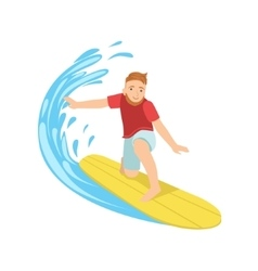 Guy catching the wave on yellow surfboard vector