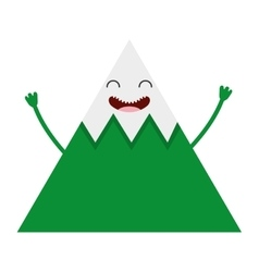 Mountain character isolated icon vector