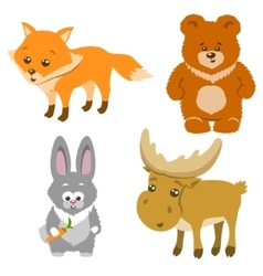 Cute forest animals cartoon style vector