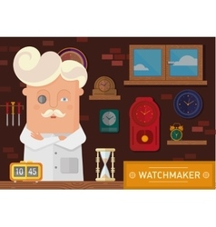 watchmaker in the workplace with a clock on the vector image