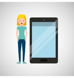Cartoon girl and smart phone touchscreen vector
