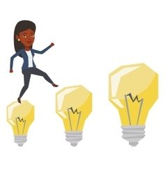 Business woman jumping on idea bulbs vector