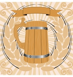 Wooden glass of beer vector