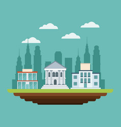Business buildings commercial bank college urban vector