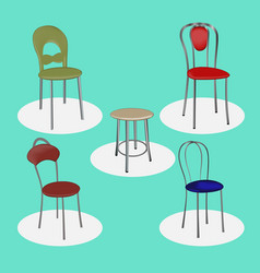 Set of metal chairs for bars cafes vector