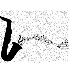 Saxophone and notes vector