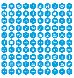 100 toys for kids icons set blue vector