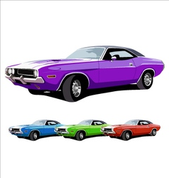 Hot american muscle cars vector