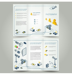 Photography brochure photo camera icons vector