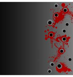 Gunshot blood splatter border background vector