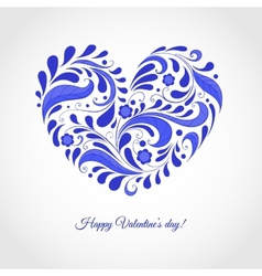Happy valentines day card with blue heart vector