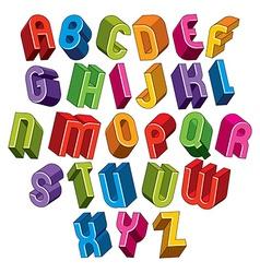 3d font colorful letters vector