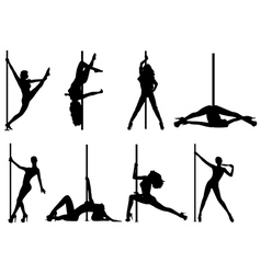 Pole dance women vector