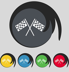 Race flag finish icon sign symbol on five colored vector