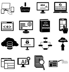 Web design programming icons set vector
