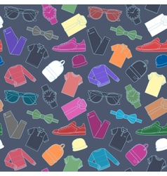 Seamless pattern of mens clothing items vector