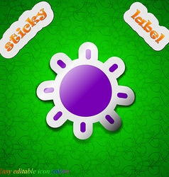 Sun icon sign symbol chic colored sticky label on vector