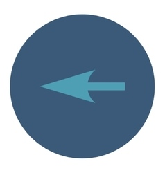 Sharp left arrow flat cyan and blue colors round vector