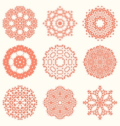 Floral circle elements vector image