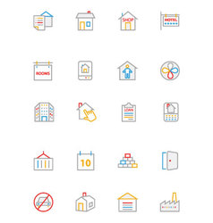 Real estate colored line icons 4 vector