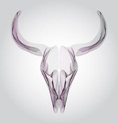 Wireframe bull skull head vector image